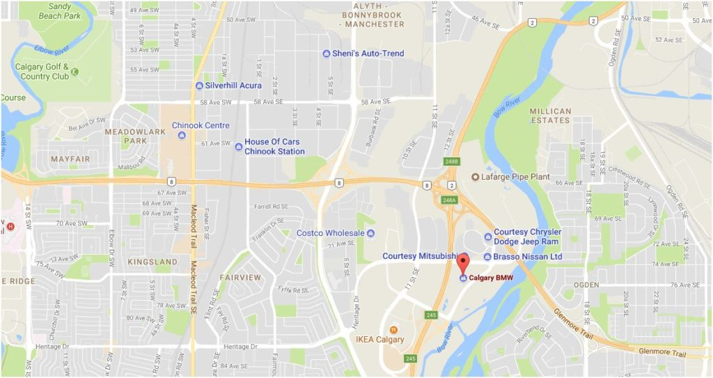 Map of Calgary BMW Call 403-471-2951