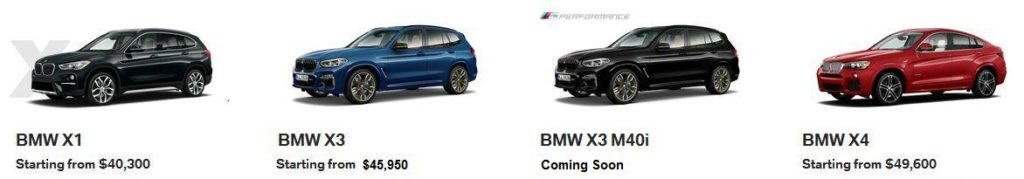 BMW X1 X3 X4 Calgary