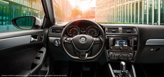 Drivers view inside the 2015 Jetta Hybrid